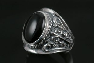 Black Gothic Sterling Silver Ring With Onyx MR-062