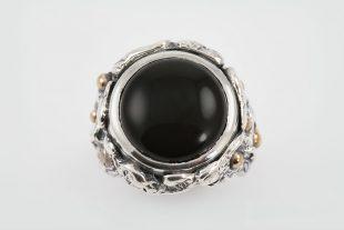 Black Sea Onyx Cabochon Modern Oxidized Silver Ring LR-064