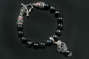 Bohemia Crown Silver Charm 10mm Hawk Eye Beaded Bracelet BB-034HE