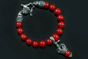 Bohemia Crown Silver Charm 10mm Red Coral Beaded Bracelet BB-034RC
