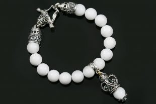 Bohemia Crown Silver Charm 10mm White Jade Beaded Bracelet BB-034WJ