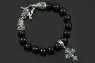 Bohemia Silver Gothic Cross Charm 10mm Black Onyx Beaded Bracelet BB-032B