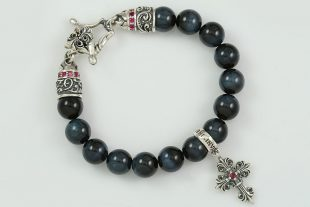 Bohemia Silver Gothic Cross Charm 10mm Blue Tiger Eye Beaded Bracelet BB-032T