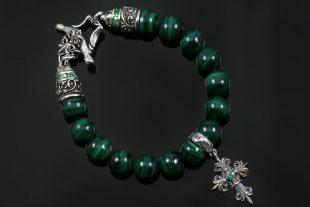 Bohemia Silver Gothic Cross Charm 10mm Malachite Beaded Bracelet BB-032M