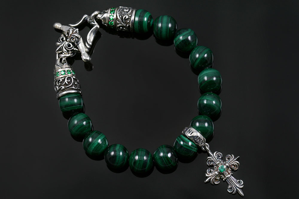 Bohemia Silver Gothic Cross Charm 10mm Malachite Beaded Bracelet BB-032M