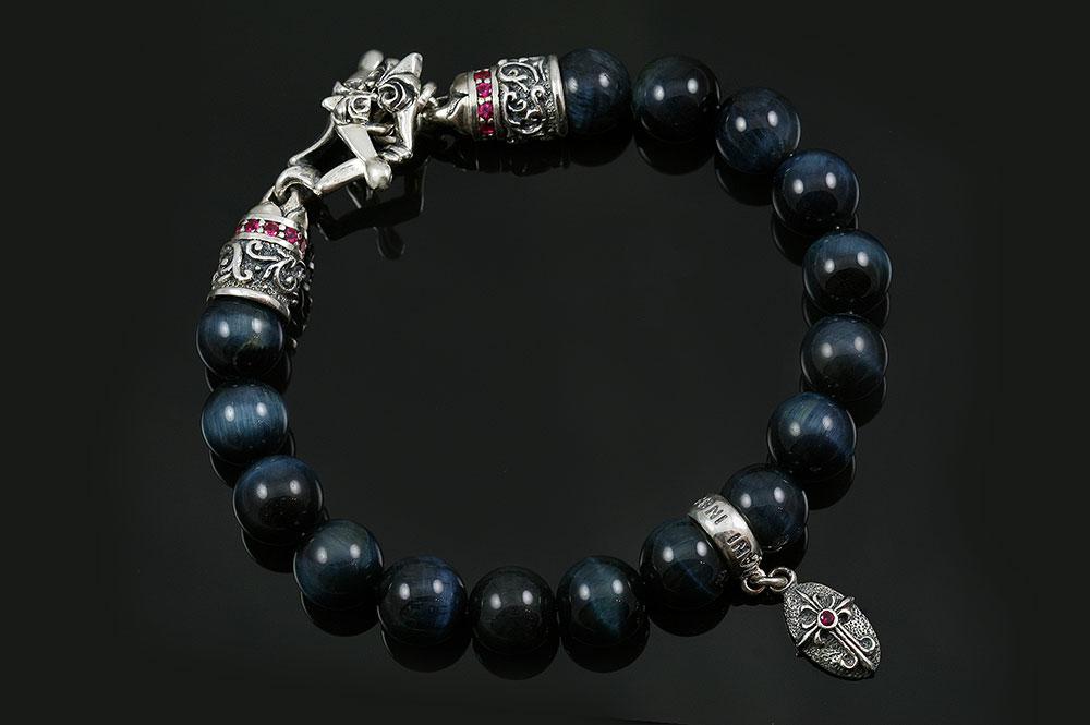 Bohemia Silver Small Cross Charm 10mm Blue Tiger Eye Beaded Bracelet BB-033