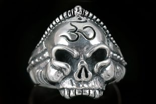 Buddha Monk Om Hinduism Yoga Symbol Skull Sterling Silver Ring MR-014