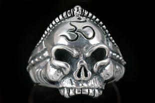 Buddha Monk Om Hinduism Yoga Symbol Skull Sterling Silver Ring MR-014