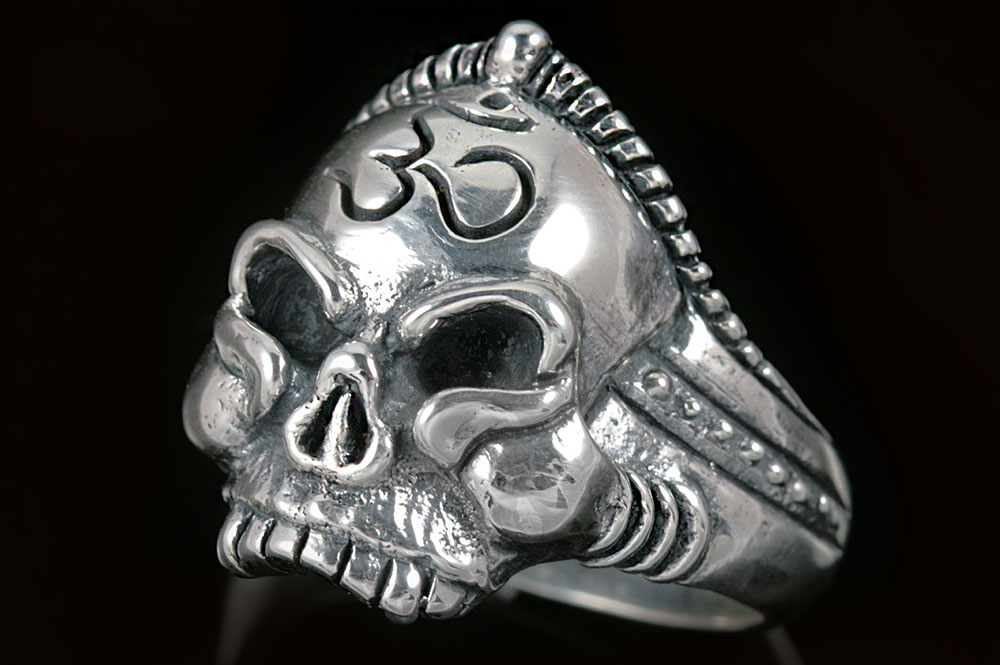 Buddha Monk Om Hinduism Symbol Skull Silver Ring Mr 014