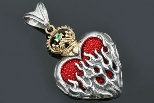 Burning Heart Two Tone Bronze & Sterling Silver Pendant PT-156