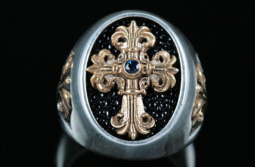 Cardinal Gold Cross Signet Ring MR-025G