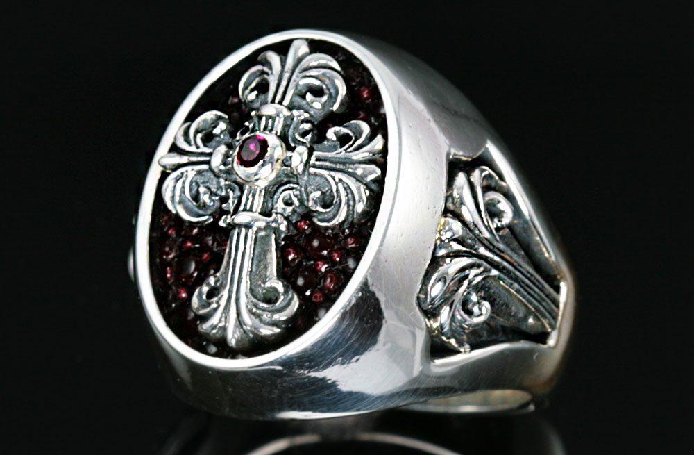 Cardinal Silver Cross Signet Ring MR-025S