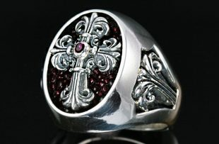 Cardinal Silver Cross Signet Ring MR-025S