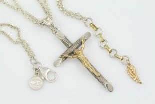 Catholic Abbey Cross Two Tone Silver Charm Pendant CH-083