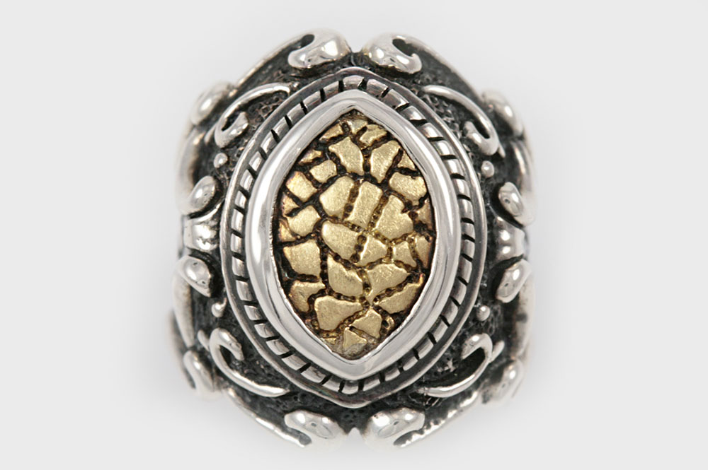 Charlemagne Baroque Style Silver and 18K Gold Two Tone Ring UR-069