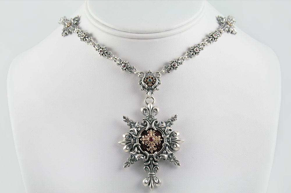 Charlotte Fleur-De-Lis Gothic Baroque Silver Necklace N-009