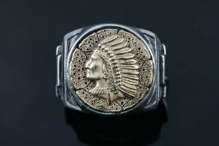 Cherokee Native American Oxidized Silver Ring MR-141