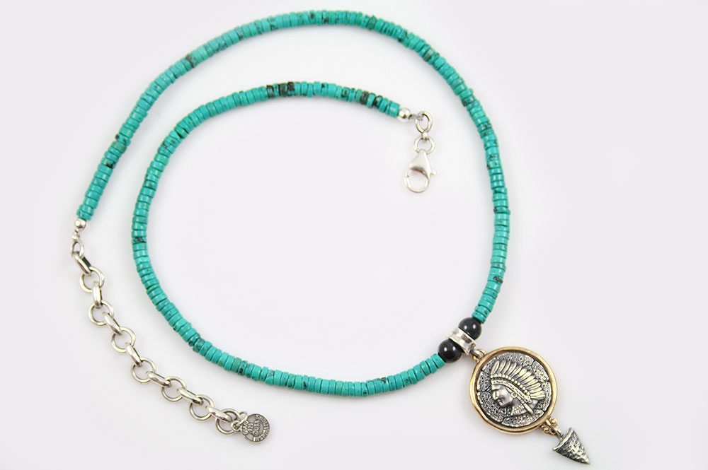 Cherokee Native American Turquoise Beaded Silver Necklace BNK-174