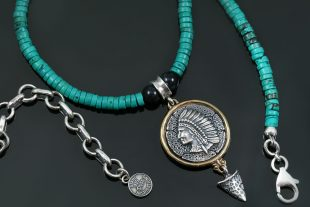 Cherokee Native American Turquoise BeadedSilver Necklace BNK-174