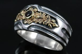 Cornelius Bronze & Ruby or 18K Gold & Black Diamond Sterling Silver Ring MR-046