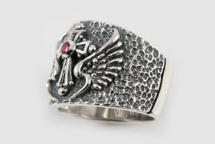 Cross & Wings Silver Ring With Red Ruby LR-074