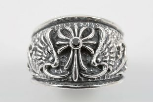 Cross and Wings Sterling Silver Ring MR-052