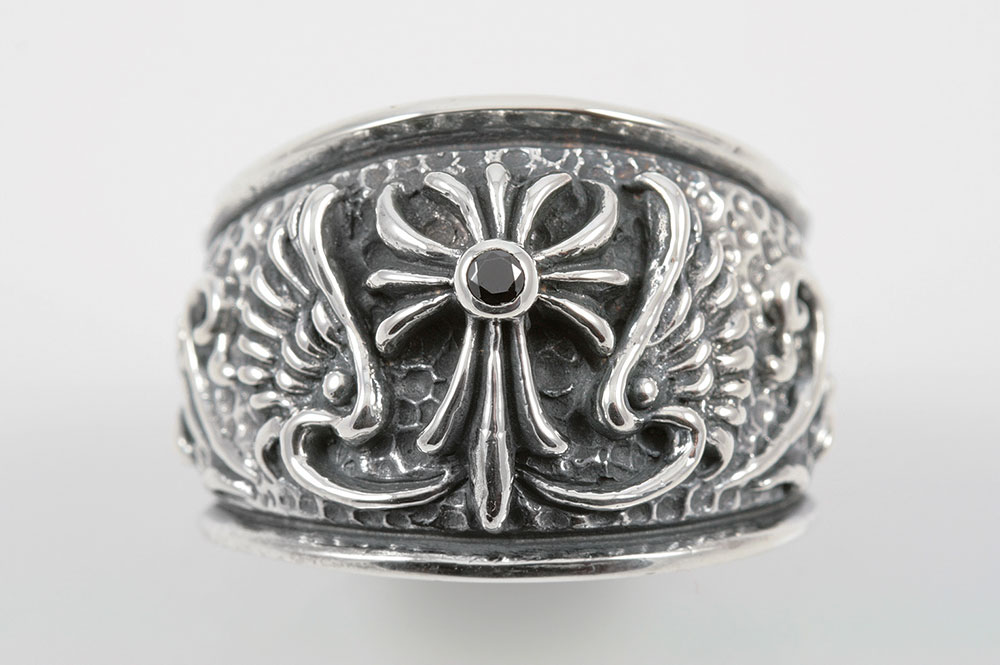 Cross And Wings Sterling Silver Ring MR 052