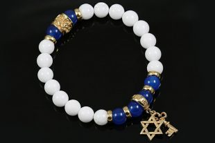 Star of David Golden Key Charm 10mm Blue & White Agate Beaded Bracelet BB-083