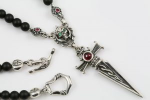 Debrina Red Corundum Ruby Dagger & Green Eyed Skull Silver Necklace With 4mm Black Matte Onyx Beads BNK-189
