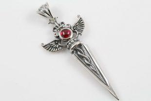 Debrina Wing Dagger Red Cabochon Ruby Silver Pendant PT-097