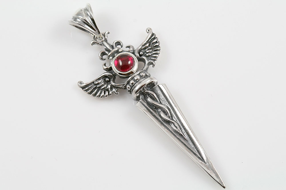 Debrina wing dagger red cabochon ruby silver pendant pt 097 aloadofball Choice Image