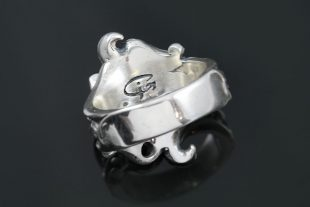 Double Nargis Flower Antique Style Oxidized Silver Ring LR-116
