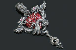 Dragon Wrapped Human Heart Red Enamel Silver Pendant PT-169E