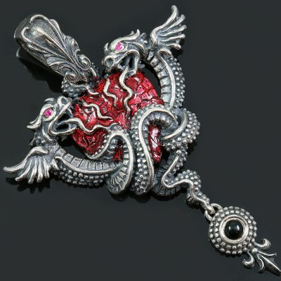 Dragon Wrapped Human Heart Red Enamel Silver Pendant PT-169E