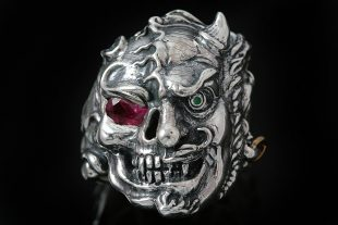 Dual Demon Skull Silver Ring MR-001