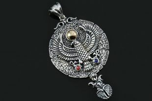 Egyptian Hawk Two Tone Red & Blue Zircons Silver Medallion Pendant PT-157
