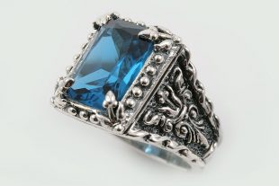 Elisabeth Natural Blue Zirconium Gothic Style Oxidized Silver Ring LR-076