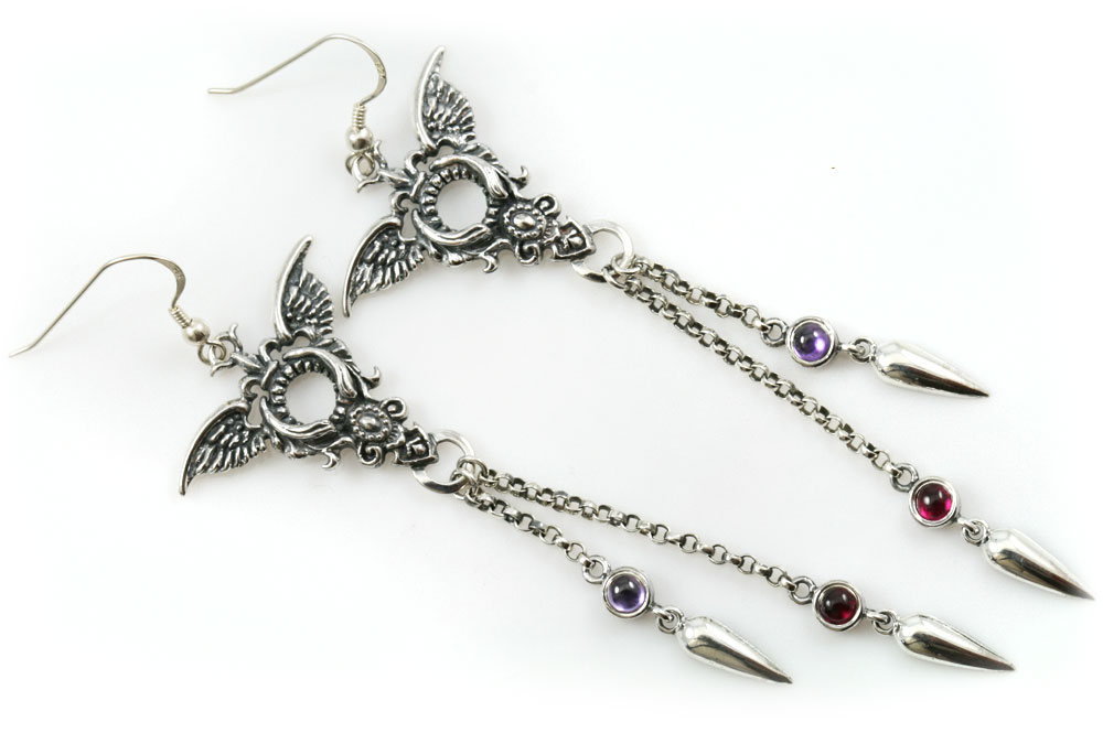 Ermina Amethyst & Ruby Edgy Wing Drop Spike Sterling Silver Earrings ER-016