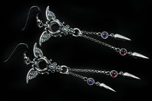 Ermina Amethyst & Ruby Edgy Wing Drop Spike Sterling Silver Earrings ER-016