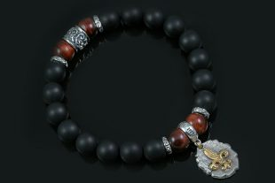 Fleur De Lis Historic Charm 10mm Red Tiger Eye & Matte Black Onyx Beaded Silver Bracelet BB-061
