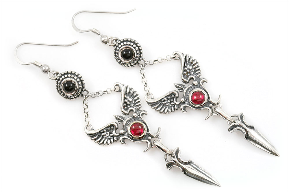 Faustina Historic Winged Dagger Sterling Silver Earrings with Cabochon Corundum Ruby and Cabochon Onyx ER-015