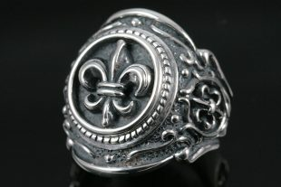 Fleur De Lis Historic Sterling Silver Ring MR-049