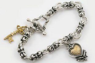 Fleur-De-Lis Chain Heart & Key Charm Silver Bracelet LBR-030
