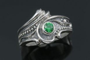 Flora Floral Style Green CZ Silver CZ Ring LR-111
