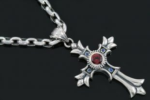 Floral Big European Gothic Cross Silver Pendant PT-025