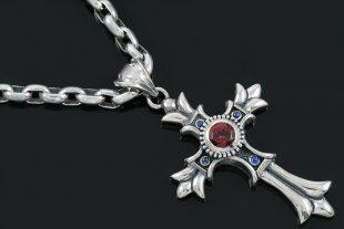 Floral Big European Gothic Cross Silver Pendant PT-025
