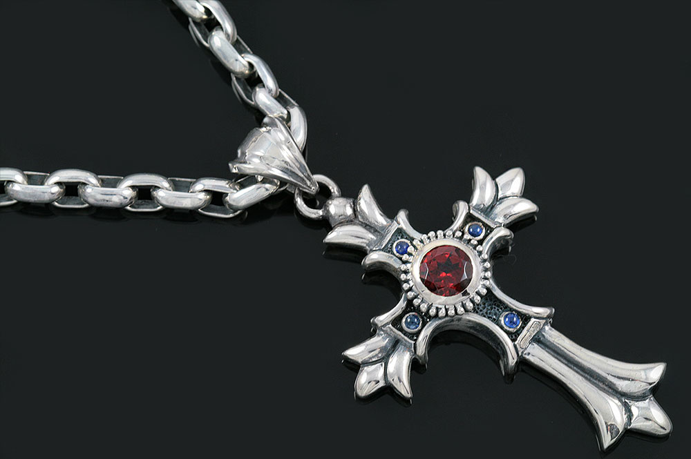 Floral big european gothic cross silver pendant pt 025 aloadofball Gallery