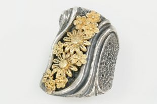 Flowers Long Modern Two Tone Silver Ring LR-101