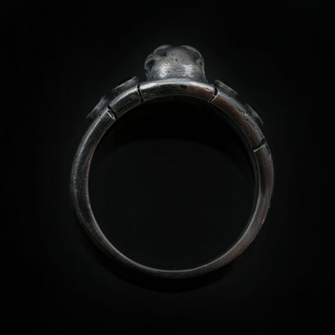 Forbe Skull Gothic Oxidized Silver Garnet Ring UR-130