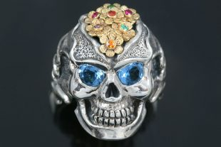 Forever Love Topaz Eyed Flower Skull Silver Ring LR-134